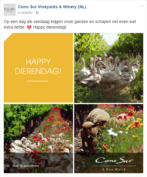 Facebook post Cono Sur Dierendag
